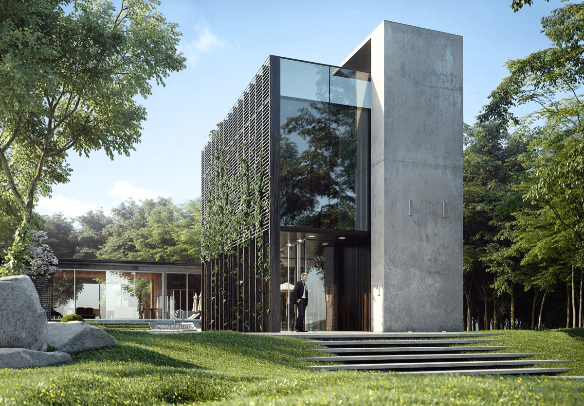 A Rocky glass and concrete contemporary house Exterior Design