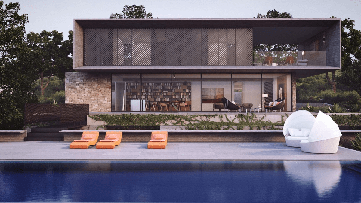 Modern exterior home design with pool