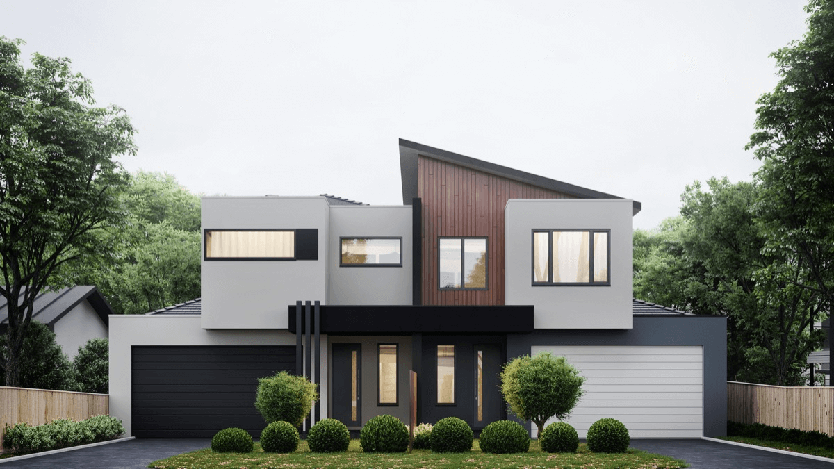 White wooden and charcoal snazzy modern exterior design