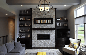 Built-in cabinets living room fireplace with tv