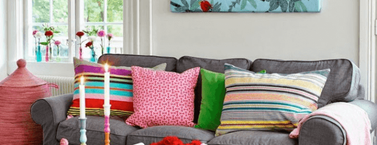 Colorful living room decor on a budget