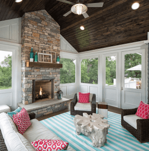 Colorful screened porch with fireplace small house