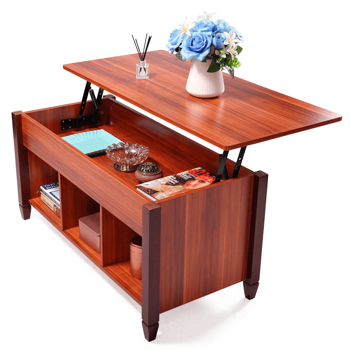 Hidden storage coffee table for small living room