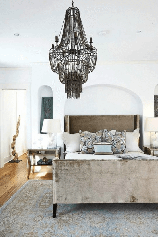 Interesting bohemian chandelier bedroom decor ideas