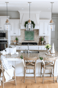 Modern farmhouse chandelier kitchen white