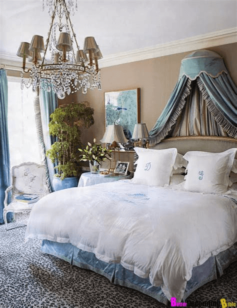 Modern romantic bedroom grey fairy tale Marie Antoinette style