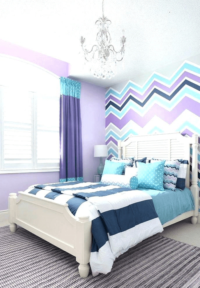 Romantic combination lavender, navy, and turquoise master bedroom colour schemes