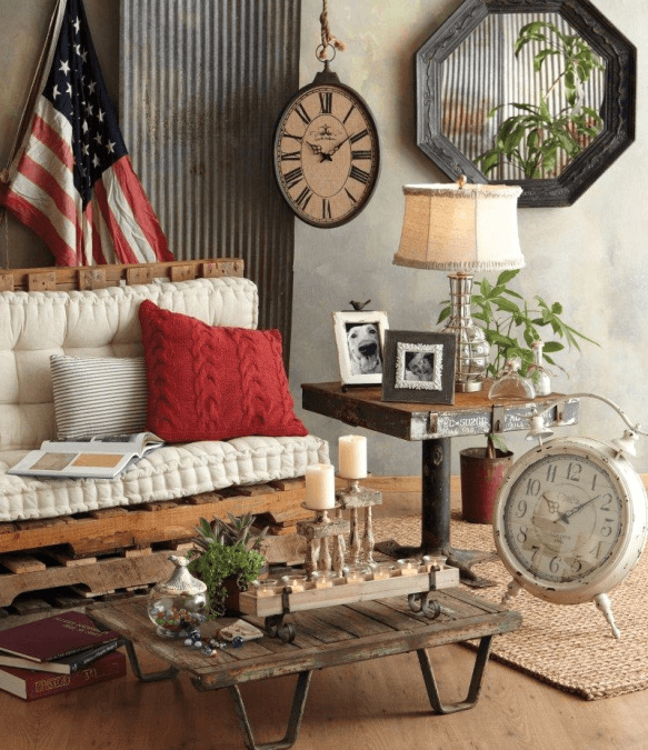 Rustic vintage home decor ideas living room