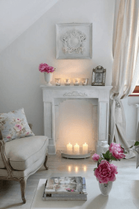 Shabby Chic Living room Decor ideas with candle sticks