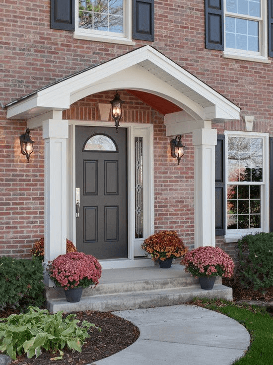 White Traditional Porch Plant Pot Front door as decor ideas