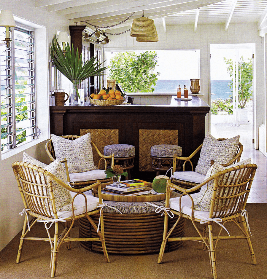 Wicker furniture indoor living rooms