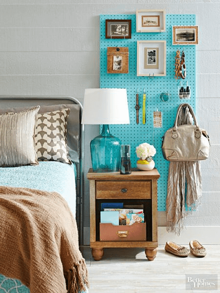Bedroom pegboard organization space saving decor ideas