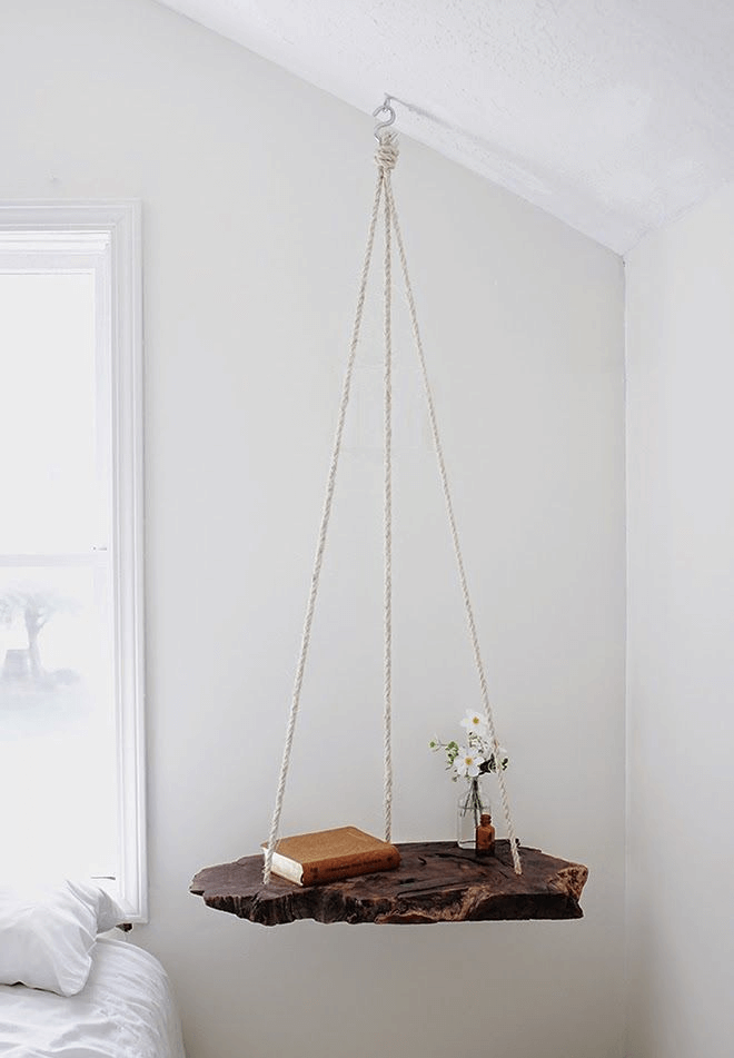 Ceiling hanging bedside table diy for bedroom decor small space ideas
