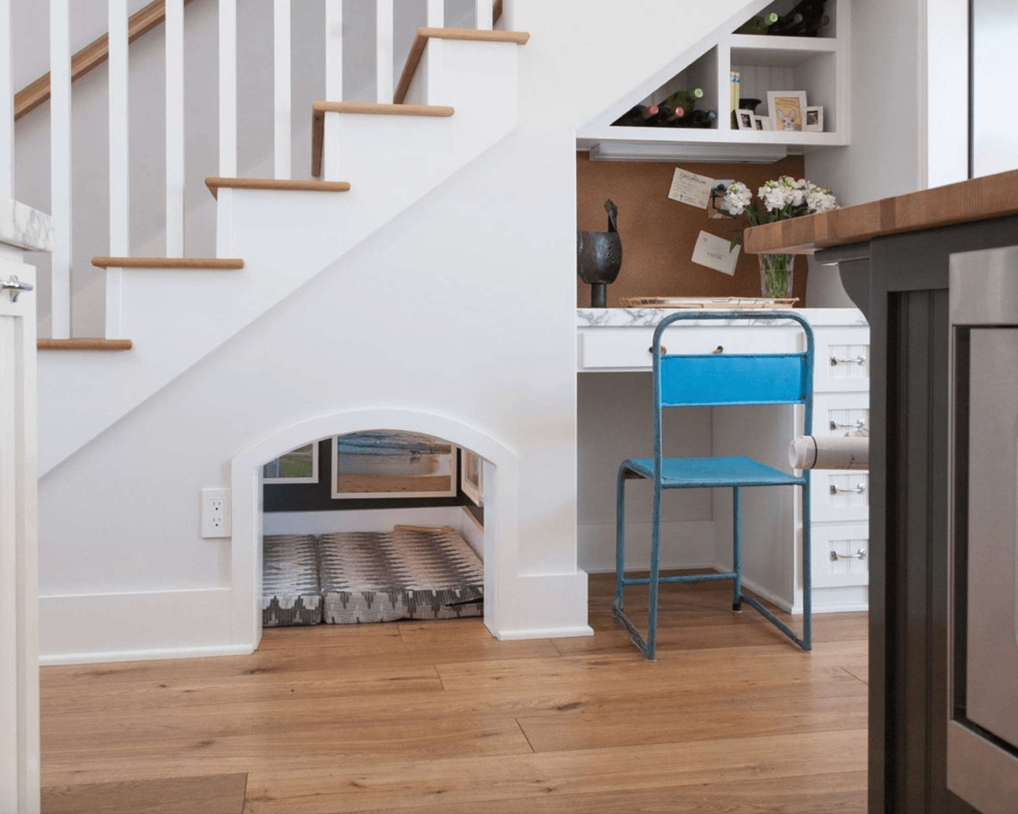 Creative room and storage space under stairs basements