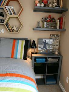 Floating book shelves bedroom small spaces