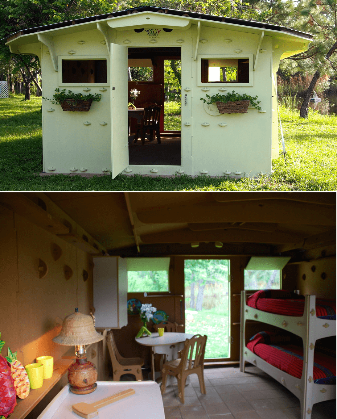 Green tiny house design from shelter in a day