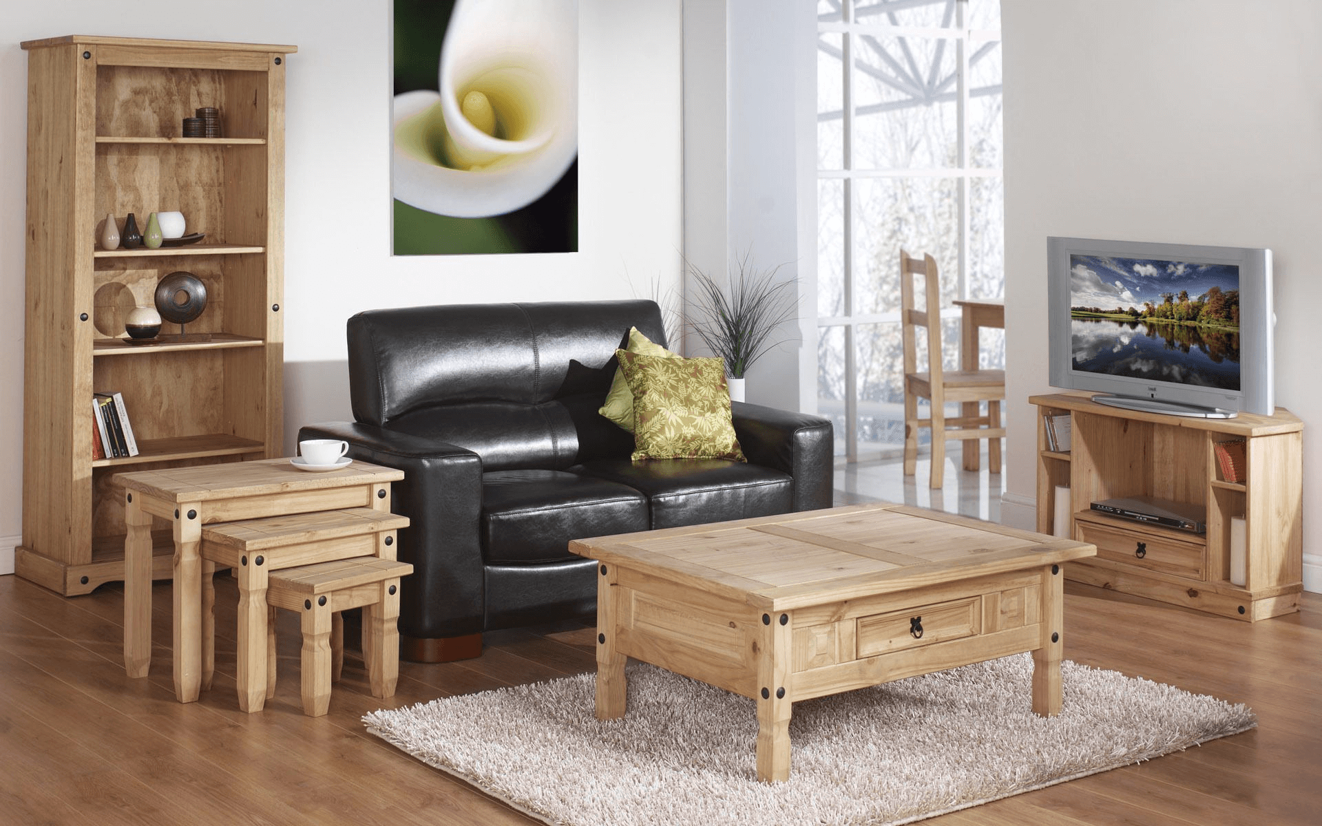 Modern and contemporary living room natural paint wood furniture