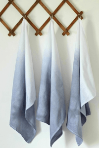 Ombre Dyed Tea Towel Bathroom decor ideas on a budget for small spaces