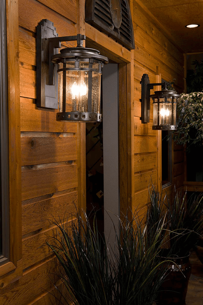 Rustic lantern light front porch wall mounted