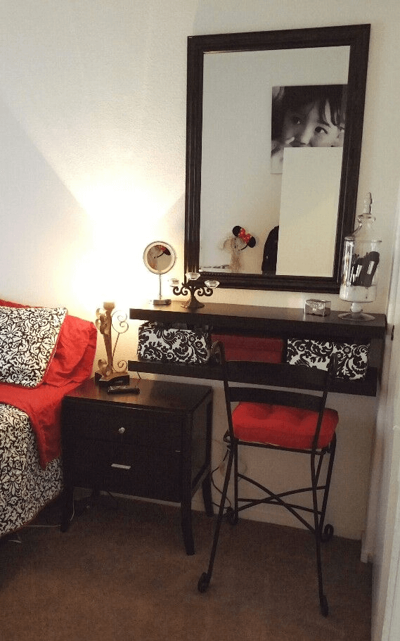 Small Vanity ideas bedroom floating shelves