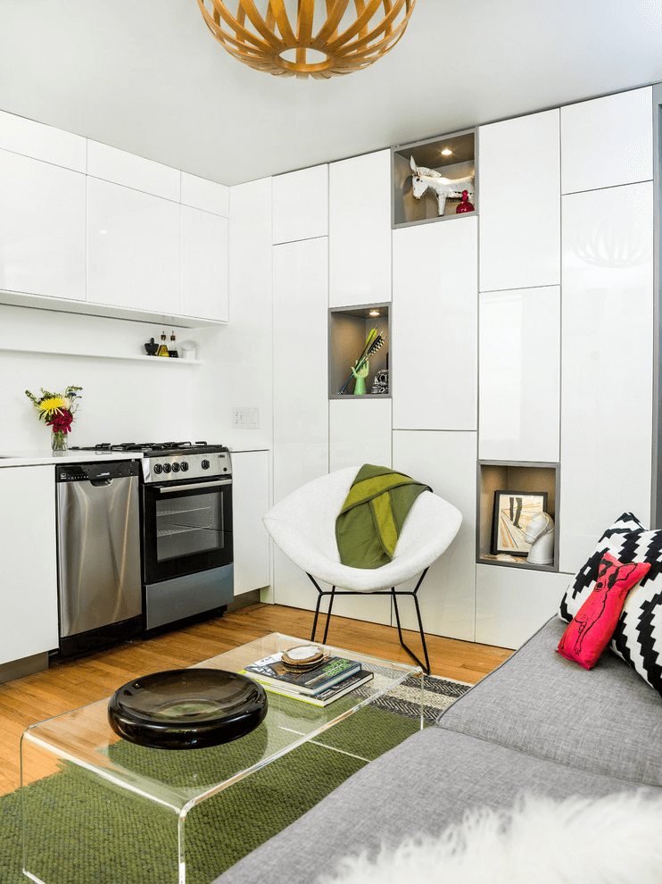 Small kitchen and living room combo open one wall