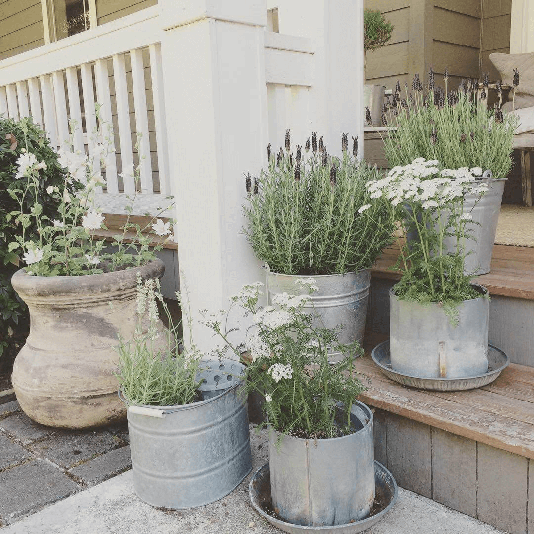 Tin pail planters for small rustic front porch decoration ideas