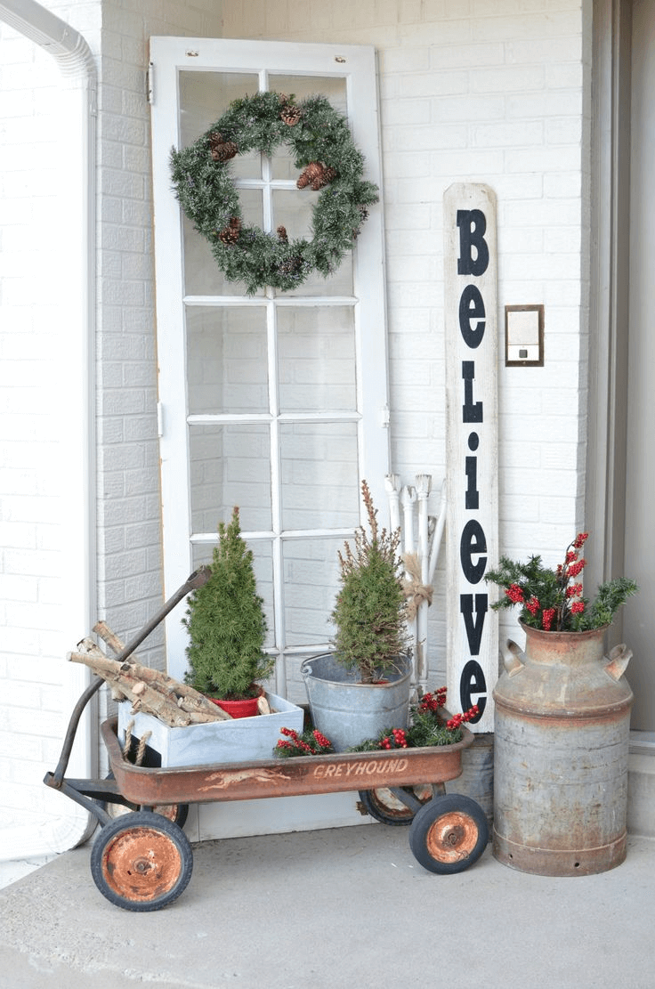 Trolley garden wheels for small rustic front porch decoration ideas