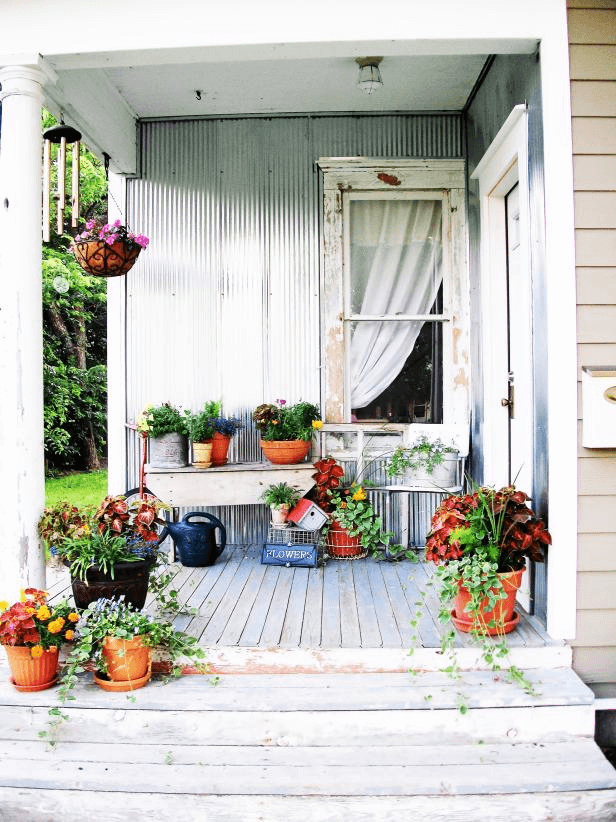 Wooden bench front porch decoration