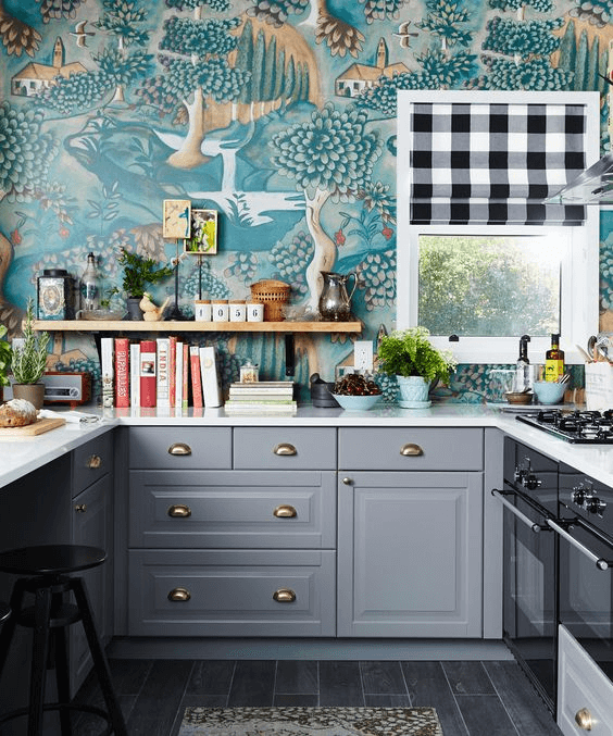 Bold Print Wallpaper Ideas for Kitchen