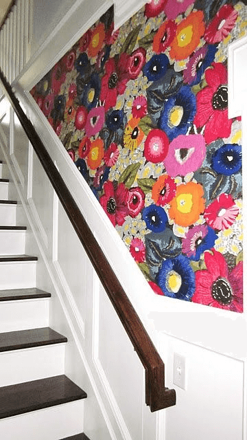 Bold Print Wallpaper for the Stairway