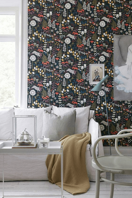 Bold print wallpaper for small space living room