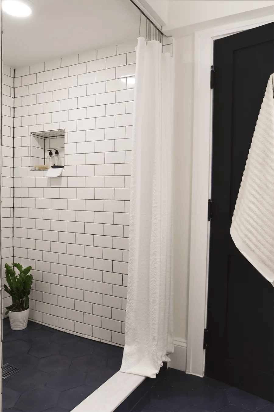 Black white shower tile small bathroom ideas