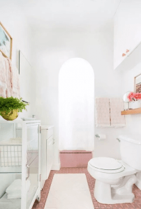 Bubble gum pink tile for small retro bathroom design