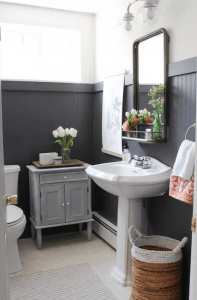 Large and Bright on Dark Small Tile Bathroom