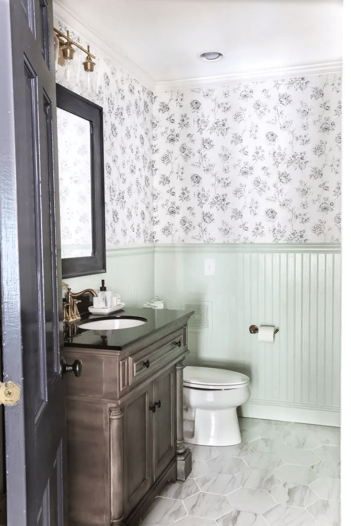 Large hexagon tile for small bathroom