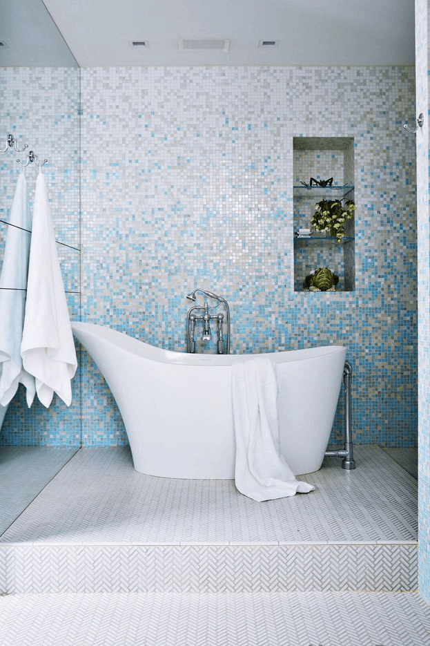 Mosaic ombre tile bathroom ideas