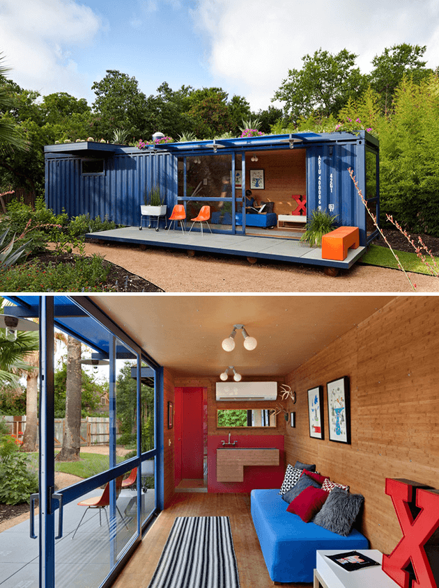 Shipping Container as Guest House by Poteet Architects