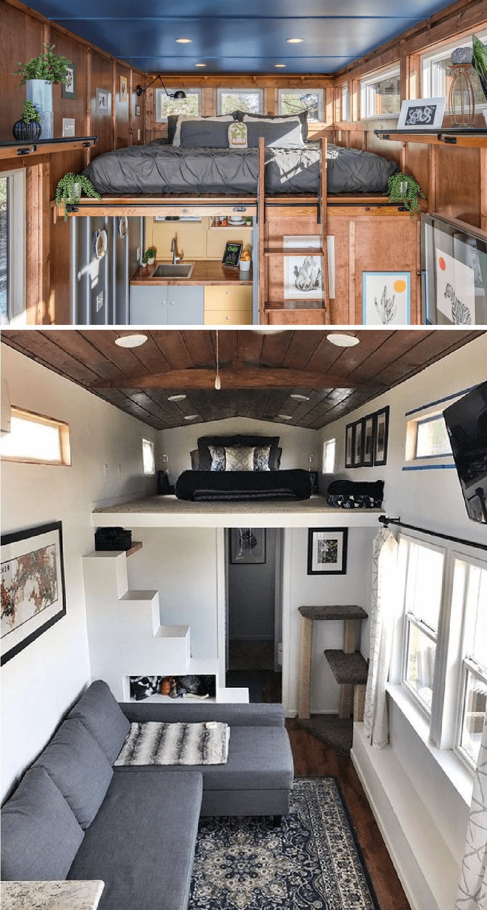 1. CLIMBING UP TINY HOUSE BEDROOM DESIGN IDEAS