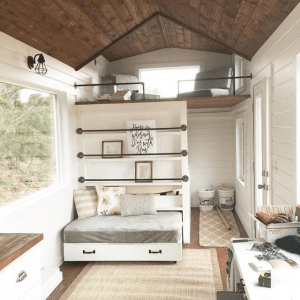 8. HIDDEN TINY HOUSE BEDROOM WITHOUT HEADBOARD