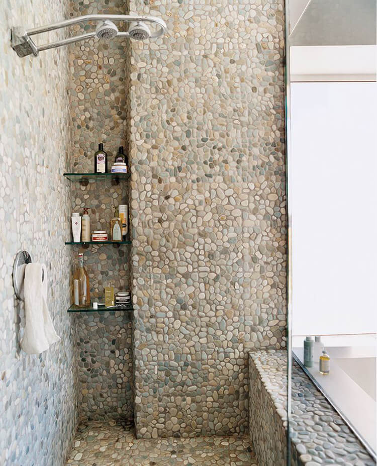 PEBBLE SHOWER WALL IDEAS FOR SMALL BATHROOM REMODEL