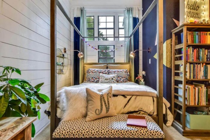 ECLECTIC WITH RUSTIC BED FRAME IDEAS FOR TEEN GIRL BEDROOM DECORATION