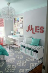 WHITE AND TURQUOISE SMALL BEDROOM DECOR IDEAS FOR TEEN GIRLS