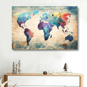 DIY SMALL HOME PROJECT IDEAS MAP WALL ART VINTAGE