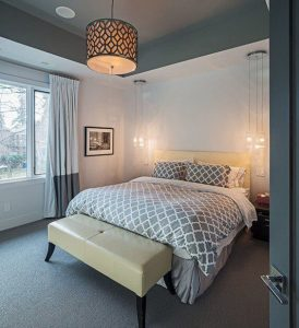INSTALL HANGING LAMP FOR SMALL LUXURY BEDROOM IDEAS