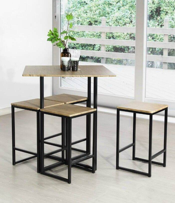 COUNTER HEIGHT MODERN STYLISH SQUARE DINING TABLE DESIGN IDEAS FOR SMALL SPACE