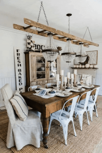 MIX AND MATCH FARMHOUSE DINING ROOM DECOR IDEAS FOR SMALL SPACE