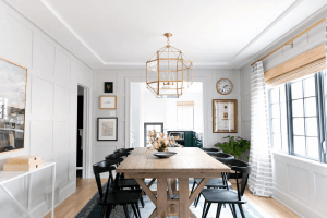 OVERSIZED GOLD LANTERN DINING ROOM LIGHTING IDEAS FOR SMALL SPACE