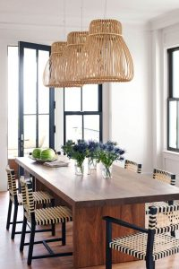 RATTAN PENDANT LIGHTING IDEAS FOR SMALL DINING ROOM