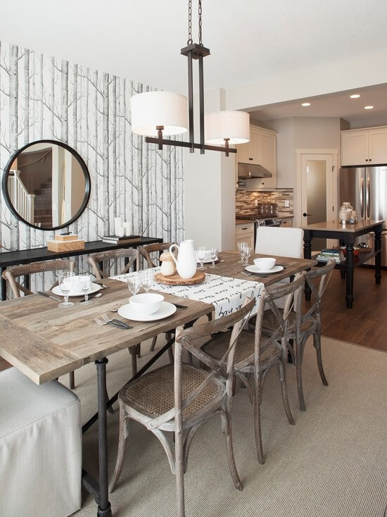 SMALL RUSTIC FARMHOUSE DINING ROOM DECOR IDEAS WITH WOOD AND RATTAN DOMINATION