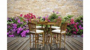 WOOD BAR STOOL STYLE DINING TABLE SET OUTDOOR SMALL SPACES